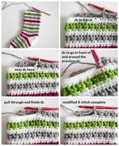 Crochet Christmas Stocking Pattern – Dabbles & Babbles Crochet – Modified X-Stitch Tutorial. Add some Christmas cheer to your mantle with this free crochet Christmas stocking pattern. The stunning stripped design can be easily made in only two days. Crochet Christmas Stocking Pattern, Crochet Stocking, Knitted Christmas Stockings, Holiday Crochet, Christmas Knitting, Nordic Christmas, Crochet Diy, Crochet Projects, Sewing Patterns