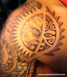 Polynesian Tribal Sun Tattoo