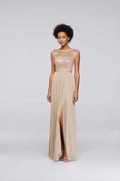 Gold bridesmaid dresses bring glamour to your bridal party. Explore even more metallic styles at David's Bridal.