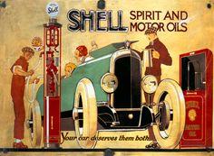 Shell Motor Oil Gasoline Poster, 1926.  Illustrated by Rene Vincent.