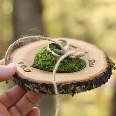 How cool is this?!?  Perfect ring presentation with a rustic edge and soft moss center.   Find it at WoodlandFever on Etsy. Ring Bearer Pillows, Ring Pillows, Ring Holder Wedding, Ring Pillow Wedding, Wedding Pillows, Rustic Wedding Decorations, Bridal Shower Decorations, Decor Wedding, Graduation Decorations
