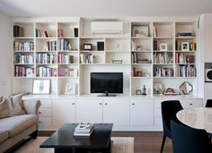 Size: wide x high x deep Material: Painted finish in white polyurethane lacquer gloss Dulux whisper white. Living Room Paint, Living Room Kitchen, Dulux Whisper White, Brighton Melbourne, White Shelves, Open Plan Living, Colour Schemes, Adjustable Shelving, Entertainment Units