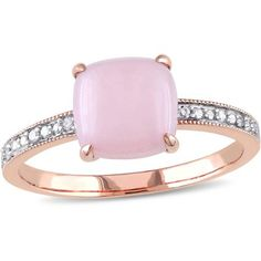 1-1/3 Carat T.G.W. Cabochon Pink Opal and Diamond-Accent 10kt Pink Gold Cocktail Ring, Women's, Size: 7