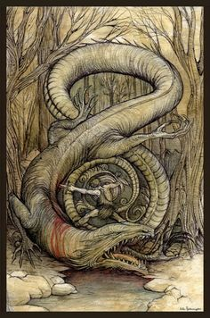 Odin, disguised, advises Sigurd to dig trenches also to drain the blood, and to bathe in it after killing the dragon; this confers invulnerability, which he does. Regin then asked Sigurd to give him Fafnir's heart for himself. Sigurd drinks some of Fafnir's blood and gains the ability to understand the language of birds. Birds advise him to kill Regin, since Regin is plotting Sigurd's death. Sigurd beheads Regin, roasts Fafnir's heart and consumes part of it. This gives him the gift of…