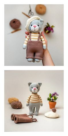knitted dolls Amigurumi Cute Kitten Free Pattern A - Crochet Amigurumi Free Patterns, Crochet Animal Patterns, Crochet Doll Pattern, Stuffed Animal Patterns, Knitting Patterns, Crochet Animals, 3d Pattern, Easy Knitting, Knitting Ideas
