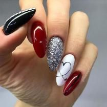 Red Black And White Nail Designs Ideas valentine nail style use of reds with a mix of black and Red Black And White Nail Designs. Here is Red Black And White Nail Designs Ideas for you. Red Black And White Nail Designs nail designs red and white . Classy Nail Designs, Nail Art Designs, Nails Design, Love Nails, Fun Nails, Glitter Nails, Nagel Tattoo, Short Nails Art, Nail Swag