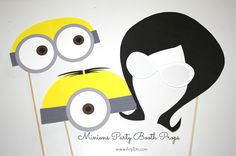 Free Minion Printables: Minions Photo Booth Props. And a Minions Balloon Tower Tutorial by www.anytots.com #minionsattarget  #ad