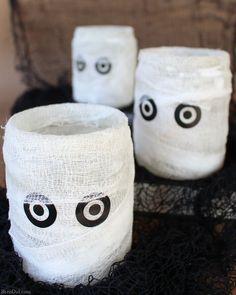 Easy Homemade Mummy Luminaries from Jars