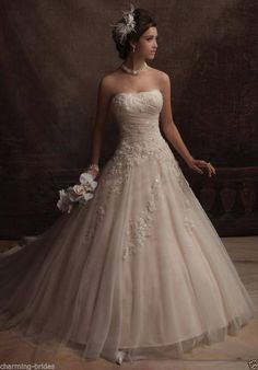 Custom Sexy Shallow champagne Tulle A-line Lace beaded wedding dress all Size