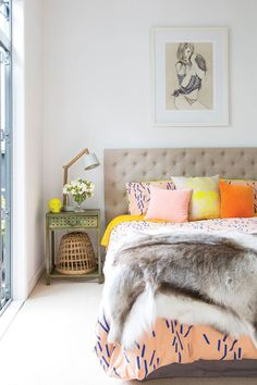 Bedside setup // tufted headboard // bedroom // mixed colours & prints