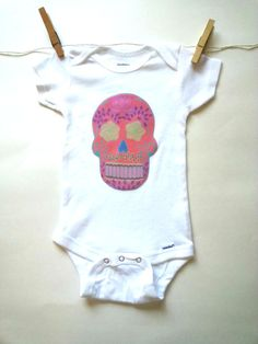 Hipster Pink Sugar Skull Baby Onesie for baby girls by StarrJoy16