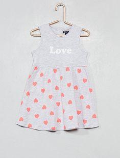 144c42f76 Vestido de punto estampado con mensaje y  corazones  GRIS Bebé niña - Kiabi