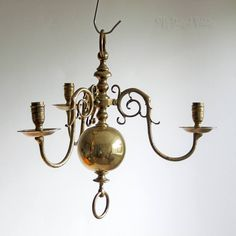 Vintage Brass Orb Light Fitting 3 Arm Arts & Crafts Needs Wiring by UpStagedVintage on Etsy