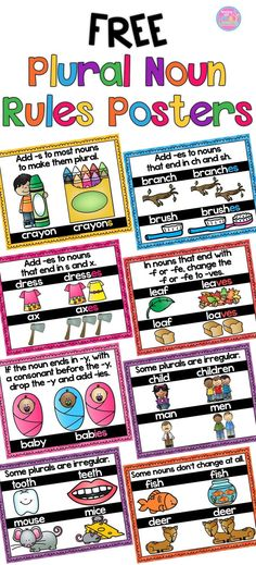 Display these FREE posters in your classroom to help your students remember how to make plural nouns.