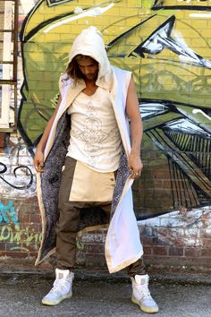 TAIKA Warrior - Impressive Burning man cape / Jedi style hooded cloak vest / Tribal Clothing / Jedi streetwear hoodie / party cape vest Hooded Cloak, Hooded Cardigan, Jedi Cloak, Cape Jacket, Vest, Tribal Outfit, Drop Crotch Pants, Snake Skin Pattern, Burning Man