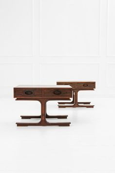 Gianfranco Frattini; Rosewood Side Tables for Bernini, c1960.