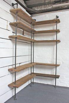 reclaimed scaffolding board corner shelving unit