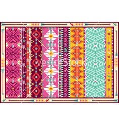 Seamless colorful aztec carpet with birds vector 1299455 - by tomuato on VectorStock®