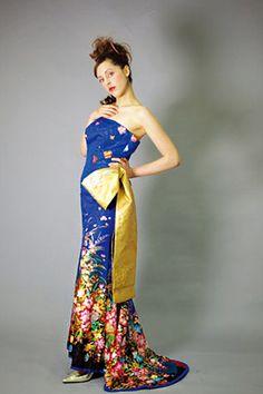 和ドレス・ウエディングドレスのドレスオーダー・レンタルドレスはアリアンサ 和ドレス・晴空 Modern kimono inspired wedding dress by Aliansa Japanese designer