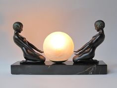 """Max Le Verrier's """"CLARTE"""" (Woman with a lighted ball.) Art Deco Table Lamp"""