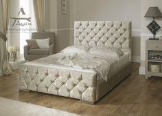 Monoco Velvet Fabric Upholstered Storage Bed Frame 4'6 Double 5 King Size | eBay
