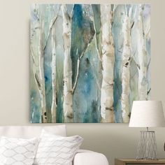 Wexford Home Carol Robinson 'Art mural en toile' River Birch I bleu - Peinture Canvas Art Prints, Painting Prints, Canvas Wall Art, Painting Canvas, Buy Canvas, Tree Canvas, Knife Painting, Abstract Tree Painting, Tree Paintings