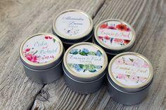 100 - Custom Candle Favor in 2oz Tins // Custom Labels - Floral Design- Wedding Favors // Personalized Wedding Favor // Bridal Shower Favor