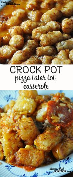 This Crock Pot Pizza Tater Tot Casserole is sure to be an instant family favorite!: