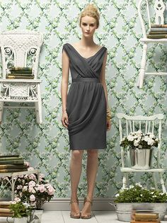 Charcoal gray illusion bateau neck short bridesmaid dresses from ...