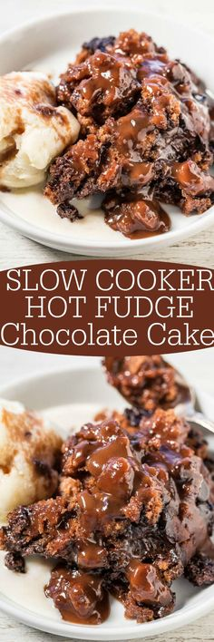Slow Cooker Hot Fudge Chocolate Cake - Super soft, gooey, rich, and fudgy!! The cake makes its own hot fudge sauce while cooking in the slow cooker! The easiest cake you'll ever make and it tastes amazing!!