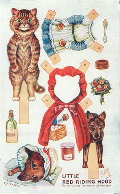 Printable templates for cat paper dolls in several storybook characters, including Cinderella, Little Red Riding Hood, Robyn Hood and Beauty & the Beast