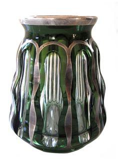 Vase mit Feinsilberauflage, Josephinenhütte, Siegfried Haertel, Art Deco
