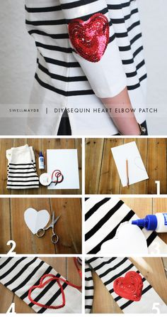 Sequin Heart Elbow Patch - 18 Adorable DIY Clothes and Accessories for Valentine's Day @Ashley Walters Walters Hamilton shall we try it this year?