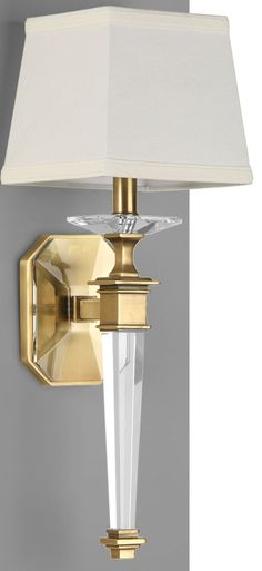solid crystal sconce with antiqued brass details; wall lighting ideas; crystal lighting;  #sconces