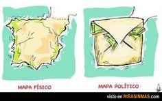Mapa físico y político de España.