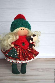 Купить Малышка с обезьянкой - комбинированный, кукла ручной работы, кукла, кукла в подарок, кукла интерьерная