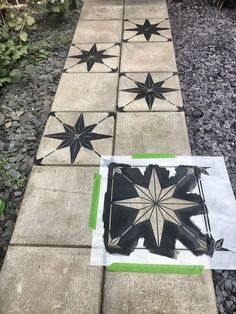 Concrete Slab Patio, Painted Concrete Floors, Concrete Flags, Stenciled Concrete Floor, Painted Pavers, Pavers Patio, Concrete Stepping Stones, Patio Tiles, Painting Concrete