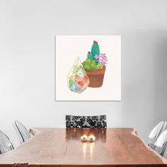"""Bungalow Rose Succulent Garden I Painting Print on Wrapped Canvas Size: 37"""" H x 37"""" W x 0.75"""" D"""