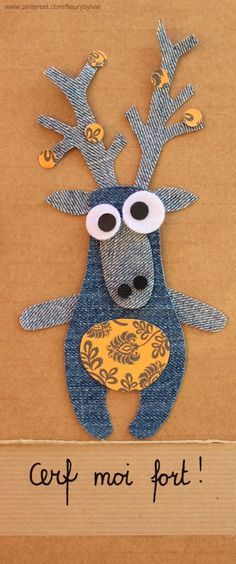 Deer plush in jeans / Peluche cerf en jean Fabric Art, Fabric Crafts, Sewing Crafts, Sewing Projects, Artisanats Denim, Denim Art, Jean Crafts, Denim Crafts, Denim Ideas