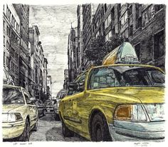 New York street scene with New York taxi cab - drawings and paintings by Stephen Wiltshire MBE New York Drawing, Taxi Drawing, Nyc Drawing, Stephen Wiltshire, New York Taxi, Amsterdam, Building Art, A Level Art, Amazing Drawings