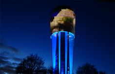 Projection installation on water tower Altdorf, Germany