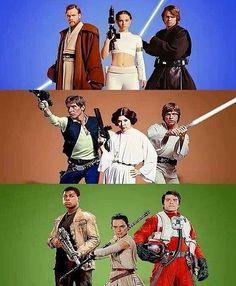 Prequel Trilogy: Obi-Wan Kenobi, Padme Amidala and Anakin Skywalker. Original Trilogy: Han Solo, Princess Leia and Luke Skywalker. Sequel Trilogy: Finn, Rey and Poe Dameron. Star Wars Film, Star Wars Art, Star Trek, Tableau Star Wars, Marvel Dc, Star War 3, The Force Is Strong, Love Stars, Reylo