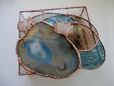 BRAZILIAN BLUE we used a beautiful polished Brazilian agate, 2 crystal clusters, shimmering hand poured and rolled ripple, bronze baroque, clear rippled sides & mirrored the bottom.  SIZE APPROX. 7 X * 1/2 ... 2 1/2 TALL  COPPER / BRONZY / FINISH
