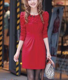 Puff Sleeve Red Dress