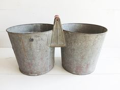 Vintage Galvanized Double Pail Grey Zinc Farm Bucket 1940s Metal Twin Nesco