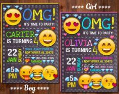 Emoji invitación, invitación de cumpleaños de Emoji, Emoji partido, muchacha Emoji invitación, invitación de cumpleaños de Emoji de niño, sonrisa de invitación