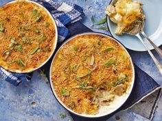 Cheddarkaas-en-sampioen-aartappelgebak Kos, Vegan Vegetarian, Curry, Pasta, Ethnic Recipes, Curries, Aries, Noodles, Blackbird