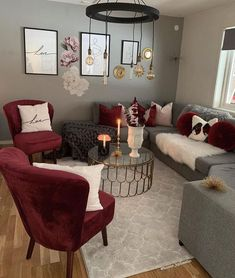 grey living room wall decor ideas with sofas features for inspiration page 5 Living Room Decor Burgundy, Grey Walls Living Room, Glam Living Room, Living Room Decor Cozy, Living Room Color Schemes, Elegant Living Room, New Living Room, Living Room Designs, Grey And Red Living Room