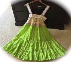 Lime Blossoms Fairytale Dress Sweetheart Shabby Chic by IzzyRoo