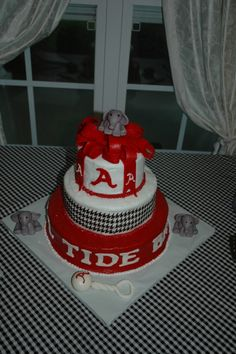 Alabama Crimson Tide baby shower cake